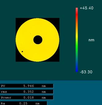 Transparente Glaskeramik Zerodur mit IBF poliert auf PV-Wert von 5,95 nm